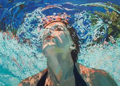 Underwater paintings by Samantha French. Draws inspiration from her childhood memories of floating in the tepid lakes on northern Minnesota on hot summer days