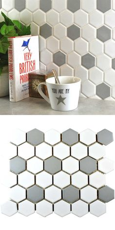 Hard Wearing and stylish these hexagonal mosaics offer a trendy honeycomb layout and subtle matt finish. A classic mix of traditional white and grey colourways Grey Mosaic Tiles, White Tiles, Kitchen Wall Tiles, Wall And Floor Tiles, White Light, Grey And White, Splashback, Floor Space, Dog Bowls