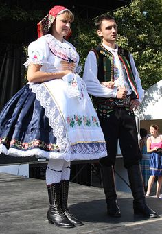 View of the front part of the ceremonial costume of unmarried couple of Moravian Slovakia (Slovácké Wine Festival and Heritage Uherske Hradište 2011).