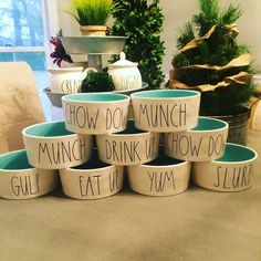 New Rae Dunn Large Dog Bowls Ivory with Teal inside - Tap the pin for the most adorable pawtastic fur baby apparel! You'll love the dog clothes and cat clothes! <3