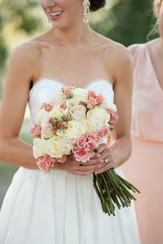Pink and cream bouquet: http://www.stylemepretty.com/2015/03/04/vintage-chic-summer-wedding-at-blue-springs-plantation/   Photography: Kate Belle Photography - www.kate-belle.com/blog