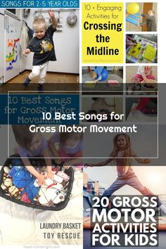 20 fun and easy gross motor play ideas perfect for a rainy day. Indoor toddler activities that get your toddler moving and help develop their body and mind. Indoor Activities For Toddlers, Gross Motor Activities, Activity Toys, Play Ideas, 5 Year Olds, Best Songs, Day, Kids, Toys