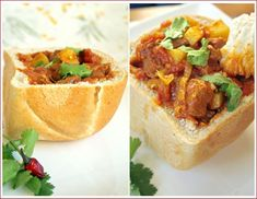 Bunny Chow--which is frequently vegetarian--is a South African street food: curry served in a bread bowl. South African Bunny Chow, South African Dishes, South African Recipes, Ethnic Recipes, Indian Dishes, Asian Recipes, Good Food, Yummy Food, Bread Bowls