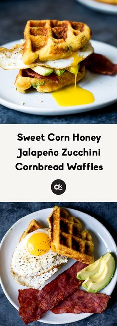 A savory breakfast featuring honey jalapeño zucchini cornbread waffles. Delicious, filling and perfect when topped with a fried egg & turkey bacon! Zucchini Cornbread, Zucchini Waffles, Cornbread Waffles, Healthy Waffles, Savory Waffles, Crepes And Waffles, Chicken And Waffles, Bacon Waffles, Savory Breakfast