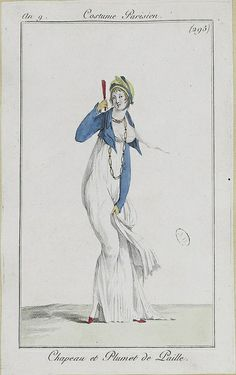 English fashion plates from and French fashion plates from Year 9 of the French Republican Calendar. All images come from the collection of the Bibliothèque des Arts Décoratifs. Regency Dress, Regency Era, English Fashion, French Fashion, Jane Austen, Jean Délavé, Mode Costume, 1800s Fashion, Empire Style