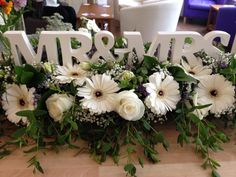 Wedding Top Table design by Shelley Whiting of The Flower Cafe, Plymouth Devon