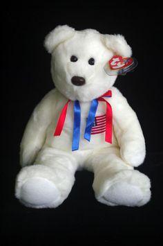 Ty Beanie Baby Buddies 2000 White Plush Libearty Teddy Bear Toy  Ty c36cf5c6af85