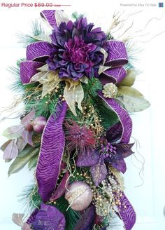 Christmas Wreath - Winter Swag Purple Gold by HungUpOnWreaths