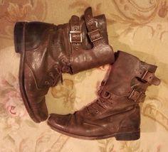 All Saints Spitalfields Damisi boots dark brown leather boots Size 39 or US 8.5 | #AllSaintsSpitalfields #Military   #GenuineLeather #Wishlist