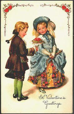 Valentine Victorian Boy Girl Flowers John Winsch Vintage Embossed Postcard