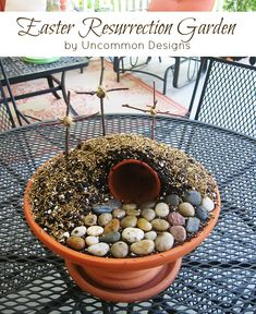 Easter Resurrection Garden Tutorial ~ Create a Simple Easter Garden from & Trish { Uncommon Designs } Easter Crafts For Adults, Easter Activities For Kids, Easter Garden, Dish Garden, Easter Religious, Easter Season, Diy Ostern, Hoppy Easter, Easter Eggs