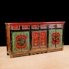 Antique Tibetan Sideboard in Original Paint, c. Painting Antique Furniture, Antique Paint, Art Furniture, Furniture Makeover, Painted Furniture, Mexican Furniture, Asian Furniture, Oriental Furniture, Antique Chest