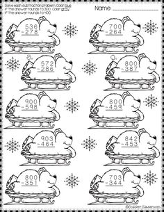Winter Subtraction with Regrouping Printables Need extra subtraction practice? These ten pag 2nd Grade Math, Second Grade, Fourth Grade, Math Worksheets, Teaching Resources, Elementary Math, In Kindergarten, Dj Inkers, Printables