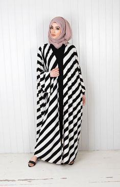 Today here we offer kimono abaya with detail look. Open style long sleeve flare abaya can wear with Modern Hijab Fashion, Muslim Women Fashion, Hijab Fashion Inspiration, Islamic Fashion, Abaya Fashion, Fashion Outfits, Model Baju Hijab, Mode Kimono, Stylish Hijab
