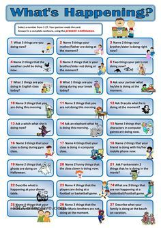 27 Present Continuous Conversation Cards worksheet - Free ESL printable worksheets made by teachers English Games, Kids English, English Activities, English Class, English Words, English Lessons, Learn English, French Lessons, Language Activities