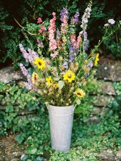 Just a lovely bucket of wildflowers- love it // photo by Sarah Der Photography, see more: http://theeld.com/1dGB0Bg
