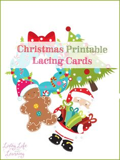 A great way to get into the Christmas spirit and practice your fine motor skills are to use printable lacing cards. This is a great activity for your preschooler, toddlers can do some of the more simple lacing card activities as well. Preschool Christmas, Noel Christmas, Christmas Crafts For Kids, Xmas Crafts, Christmas Themes, Christmas Projects, Christmas Activities, Christmas Printables, Preschool Activities