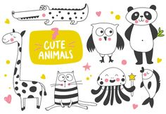 Cute animals set by bosmoll on @creativemarket