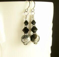Gemstone Earring Jungle Jasper Crystal Black by BobblesByCarol, $17.00