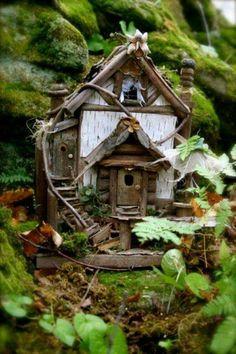 fairie house,--- You could convert a bird house into a fairy house very easily. Fairy Garden Houses, Gnome Garden, Garden Art, Garden Design, Home And Garden, Garden Ideas, Fairy Gardening, Gardening Tips, Vegetable Gardening