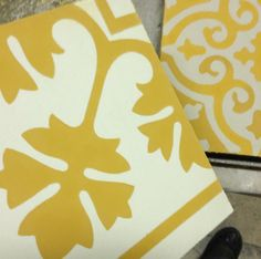 Moza cement tiles in mustard, moza. Cement Tiles, Yellow, Bespoke, Mustard, Interiors, Taylormade, Decoration Home, Mustard Plant, Decor