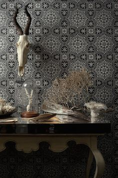 Piccadilly wallpaper by Cole Son in black and white