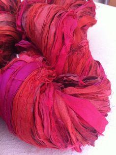 Recycled Sari Silk Ribbon Ruby Silk Sari Art Yarn by Yarnyarnyarns, $10.99