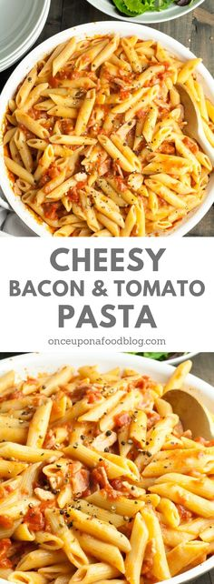 Perfect for busy evenings, you can have this Cheesy Bacon and Tomato Pasta on the table in minutes! #cheesypasta #cheesybaconpasta #easypasta #quickpasta #dinnertonight #easycheesypasta #creamypasta #creamycheesypasta #comfortfoods #pastadishes #familymeals #creamycheesypasta #onceuponafoodblog