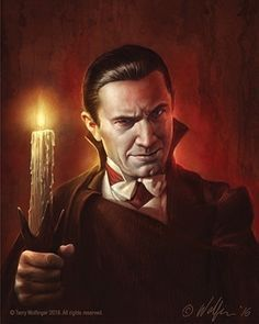 Universal Classic Monsters Art : Dracula 1931 by Terry Wolfinger Classic Monster Movies, Classic Horror Movies, Classic Monsters, Lugosi Dracula, Hollywood Monsters, Real Horror, Horror Artwork, Horror Monsters, Horror Icons