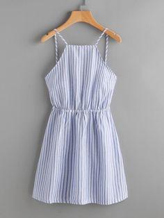 Dresses by BORNTOWEAR. Striped Cut Out Bow Tie Open Back Cami Dress #designerfashionwomen