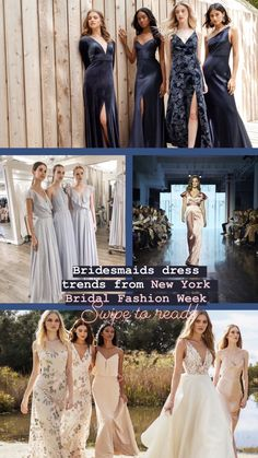 Bridesmaids dress trends seen all over New York Bridal Fashion Week. Designer Bridesmaid Dresses, Wedding Dresses, Prom Dresses, Bridesmaid Tank Tops, Bridesmaids, Metallic Dress, Bridal Fashion Week, Gorgeous Fabrics, White Bridal