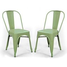 Adeco 2016 New Metal Stackable Industrial Chic Dining Bistro Cafe Side Chairs with Wood Seat,Distressed Dimgrey,Set of 2 Metal Bistro Chairs, Black Dining Room Chairs, Outdoor Dining Chairs, Bar Chairs, Dining Chair Set, Side Chairs, Green Chairs, Outdoor Furniture, Plastic Adirondack Chairs