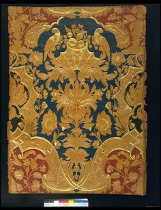 Embossed leather panel, with a symmetrical Louis XIV pattern which consists of lattice-work, a palmette, floral decoration and two parrots. Pattern in plain leather and heightened with gold, the ground painted in blue and red. ca 1850, Paris | Dulud, Jacques Michel | V Museum, London