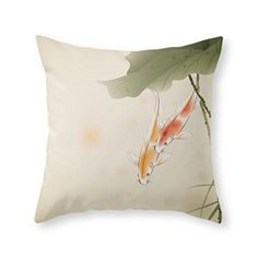 """Society6 Koi Fishes In Lotus Pond Throw Pillow Indoor Cover (16"""" x 16"""") with pillow insert - http://www.yourfishguide.com/society6-koi-fishes-in-lotus-pond-throw-pillow-indoor-cover-16-x-16-with-pillow-insert/?utm_source=PN&utm_medium=http%3A%2F%2Fwww.pinterest.com%2Fpin%2F368450813235896433&utm_campaign=SNAP%2Bfrom%2BFish+-+Aquarium+-+Pond+Facts"""