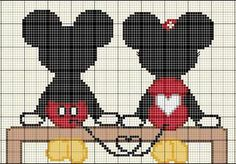 Mickey & Minnie in love cross stitch point du croix punto de cruz Cross Stitch Baby, Cross Stitch Animals, Cross Stitch Charts, Cross Stitching, Cross Stitch Embroidery, Embroidery Patterns, Disney Stitch, Disney Cross Stitch Patterns, Cross Stitch Designs
