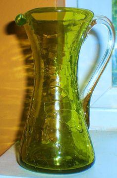 Vintage crackle glass pitcher