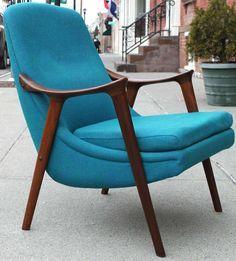 Danish Walnut Scoop Armchair