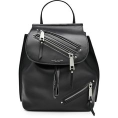Marc Jacobs Leather Backpack (1.565 RON) ❤ liked on Polyvore featuring bags, backpacks, accessories, sac, black, leather backpack, leather daypack, leather drawstring bag, real leather backpack and leather bags