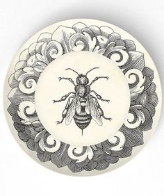 Bee -10 inch Melamine Plate with a softly aged off-white background via Etsy