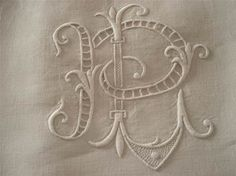 Monogram embroidery letter P and L