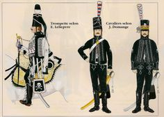 Two more variations on the uniform of the Hussards de la Mort, plus a trumpeter. All c.1793