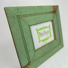 Reclaimed wood picture frame  sage green by beadboarddesigns, $35.00