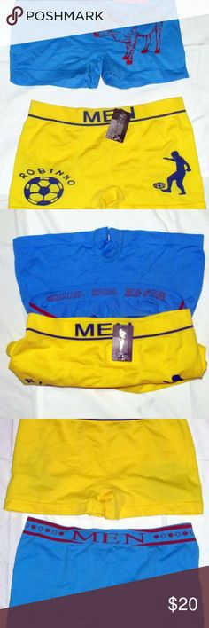 NEW Two Fashion MEN underwear one size New two items fashion MEN underwear for men, one size and two colors: yellow and blue very attractive.  65% Polyester and 35% Spandex Made in China With your first purchase you receive a gift but with your next purchase you will receive a 15% discount MEN Underwear & Socks Boxer Briefs