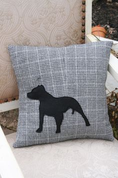 In Honor of the PIT BULL Dog - Recycled Wool Silhouette PILLOW Cover - 14 Inch - Fundraiser