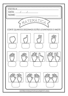 good math worksheet to remake in English // writing numbers based on fingers Math Literacy, Kindergarten Worksheets, In Kindergarten, Learning Activities, Preschool Activities, Kids Learning, Math For Kids, Kids Education, Kids And Parenting