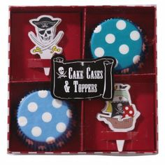 Pirate Cake Cases and Toppers Set 40 cake cases in blue polka dot designs, and 20 cake toppers in 2 whimisical, pirate designs. Your cakes will look even more delicious dressed in these cute cake cases and pirate toppers. Cupcake In A Cup, Cupcake Party, Party Cakes, Cupcake Supplies, Baking Supplies, Pirate Party Supplies, Pumpkin Carver, Cake Accessories, Pirate Theme