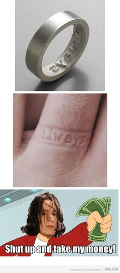 this is awesome!….I've always wanted a ring like this (: I saw a wedding ring that did hearts, but I love this one! and i love the harry potter humor at the bottom:D