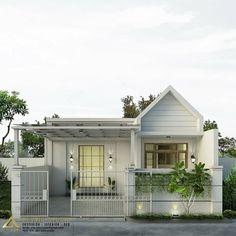 32 Ideas Simple House Exterior Bungalows For 2020 Bungalow House Design, Small House Design, Modern House Design, Home Room Design, Home Design Plans, Minimalis House Design, Simple House Exterior, Casas The Sims 4, Facade House
