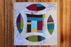 improv double wedding ring mini quilt
