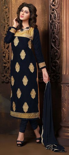 424607: Blue color family unstitched Party Wear Salwar Kameez.